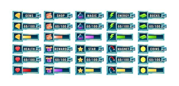 Grande set di barra di avanzamento dell'interfaccia utente del gioco spaziale fantasy e modello di pannello aggiuntivo
