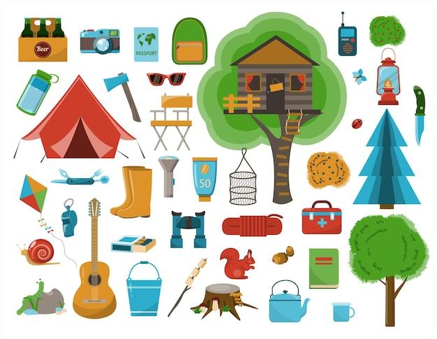 Un grande set di icone piatte per il campeggio illustrazione di cartone animato vettoriale attrezzatura per l'escursionismo