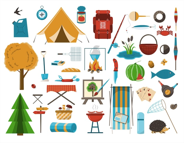 Un grande set di icone piatte per il campeggio attrezzatura per l'illustrazione del fumetto vettoriale per l'escursionismo cliparts