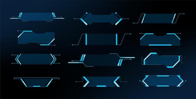 Grande set di elementi hud futuristici. interfaccia utente touch grafica virtuale. disegno di illustrazione vettoriale