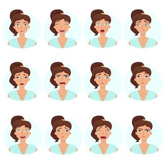 Grande insieme di emozioni delle ragazze espressioni del viso di donna