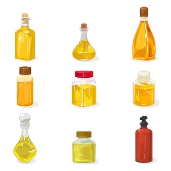 Grande set di bottiglie di vetro, fiale, vasetti chiusi con tappo, sughero con profumo, acqua di colonia, olio