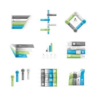 Grande insieme di vettore di elementi di opzione infographic verde e blu