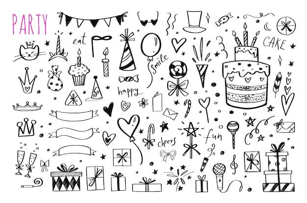Grande insieme di elementi di festa di compleanno disegnati a mano