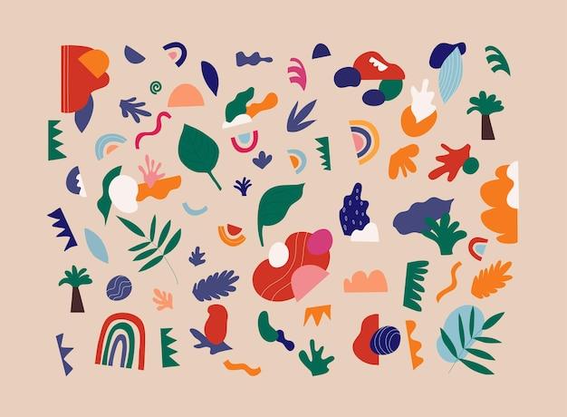 Grande insieme di varie forme colorate disegnate a mano e oggetti di doodle