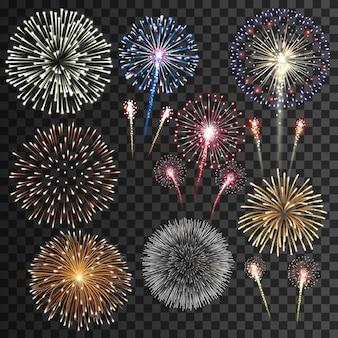 Grande insieme dell'illustrazione isolata dei fuochi d'artificio