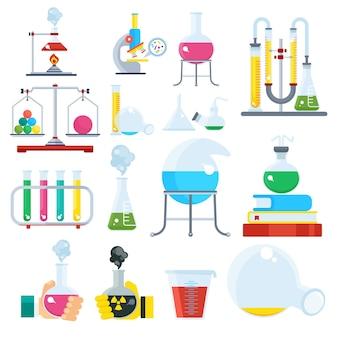 Grande set di attrezzature da laboratorio. esperimenti di scienze chimiche e fisiche, ricerca. illustrazione del fumetto piatto vettoriale. oggetti isolati su uno sfondo bianco.