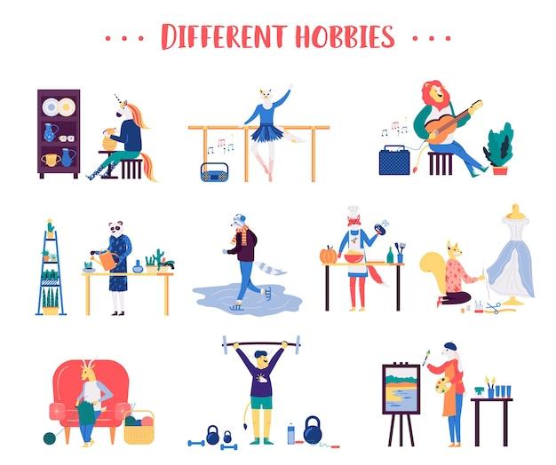 Grande insieme di diversi hobby maschili e femminili, passatempo. personaggi animali di talento praticano sport.