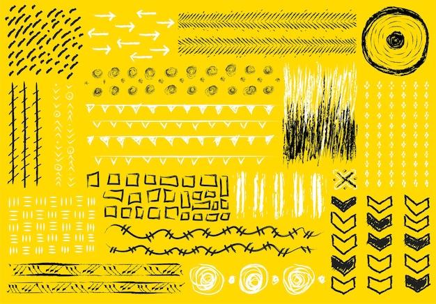 Grande set di moderne forme grunge ed elementi di design su sfondo giallo brillante