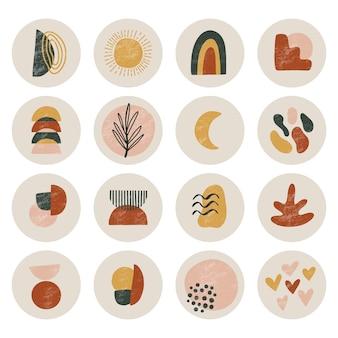Grande set di copertine di evidenziazione in stile moderno per instagram