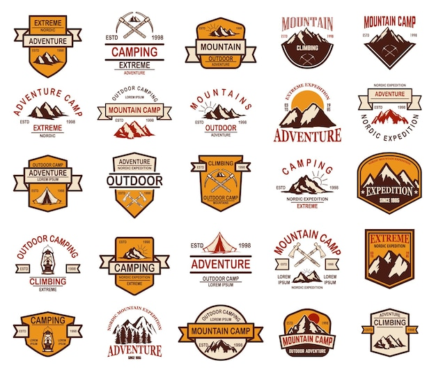 Grande set di emblemi per escursioni in montagna. elemento di design per logo, etichetta, segno, banner, poster.