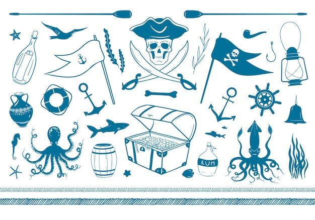Grande set di clip art nautiche e pirata gli animali marini isolano su sfondo bianco