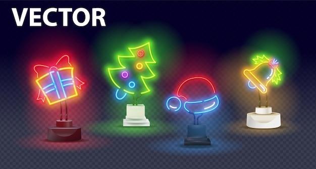 Big set neon logo, etichetta, emblema su un supporto.