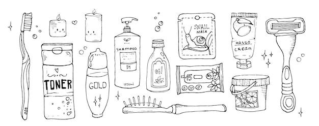 Grandi oggetti per la cura personale articoli e strumenti per il bagno per l'igiene vettore disegnato a mano in stile scarabocchio