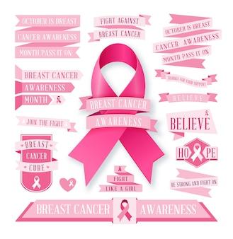 Grande insieme delle bandiere e dei nastri rosa di consapevolezza del cancro al seno isolati su bianco