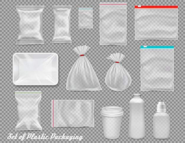 Grande set di imballaggi in plastica in polipropilene - sacchi, vassoio, tazza su sfondo trasparente. illustrazione