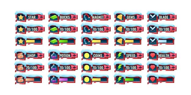 Grande set di barra di avanzamento dell'interfaccia utente del gioco neve rossa e modello di pannello aggiuntivo