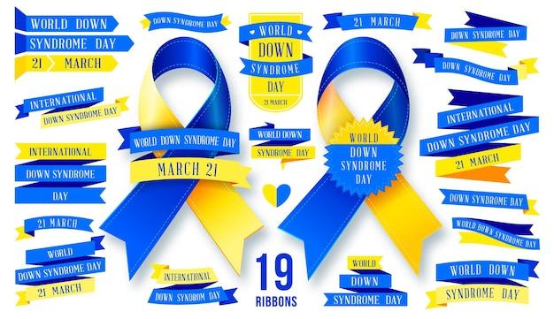 Grande set di nastri per la giornata mondiale della sindrome di down.