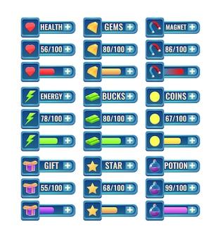 Grande set di barra di avanzamento fantasy dell'interfaccia utente del gioco rpg e pannello aggiuntivo