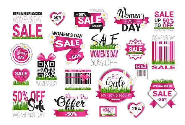 Grande insieme degli autoadesivi di vendita per la promozione dei distintivi del modello dei segni di offerta speciale di giornata internazionale della donna isolata