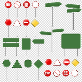 Grandi segnali di stop e raccolta di segnali stradali
