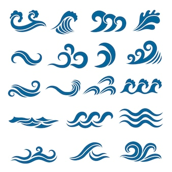 Grande insieme di onde dell'oceano stilizzate. set colorato. onda di acqua di mare, oceano che scorre e illustrazione di turbinio
