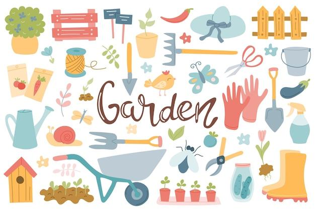 Grande set sul tema degli attrezzi da giardinaggio articoli da giardino scritte a mano verdure in crescita primaverile