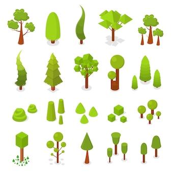 Grande insieme di alberi. vista isometrica. arbusti e abete rosso. isolato su sfondo bianco. piante 3d per giochi, mappe e altri design. illustrazione vettoriale.