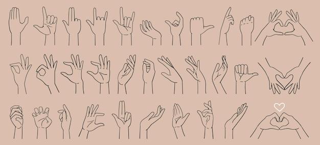 Grande set vari gesti delle mani segni della mano disegnati a mano con una linea illustrazione vettoriale isolata
