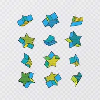 Grande insieme di forme geometriche vettoriali. elementi grafici alla moda con forma se stelle, illustrazione vettoriale
