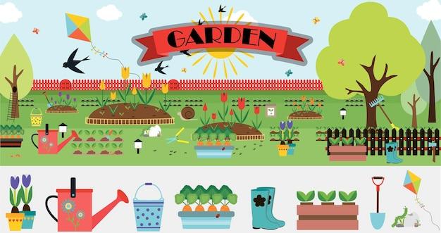 Un grande set di elementi vettoriali per il giardino illustrazione piatta immagine cartone animato carino
