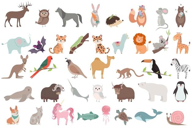 Grande set con simpatici animali in stile cartone animato collezione vettoriale di animali selvatici e del bosco