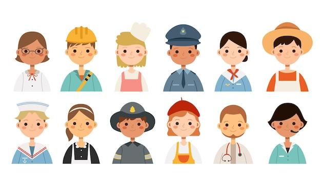 Grande insieme con diverse professioni di bambini