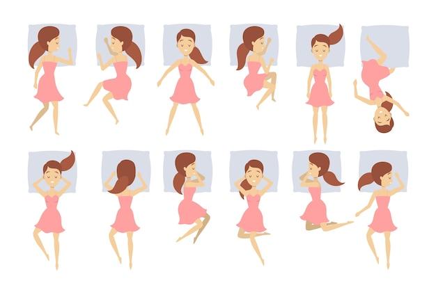 Grande insieme di donna dormire in una posizione diversa. personaggio femminile nel letto sul cuscino. sogno notturno. riposo in camera da letto. illustrazione