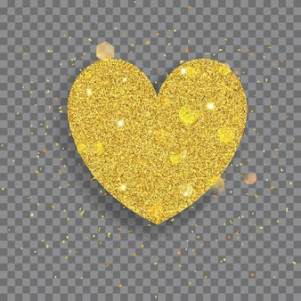 Grande cuore lucido fatto di glitter dorati con scintillii e bagliori