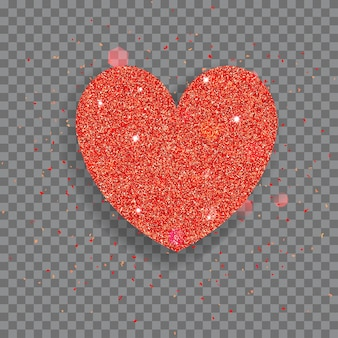Grande cuore lucido fatto di glitter rossi con scintillii e bagliori
