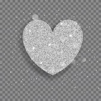Grande cuore lucido fatto di glitter argento con scintillii e bagliori