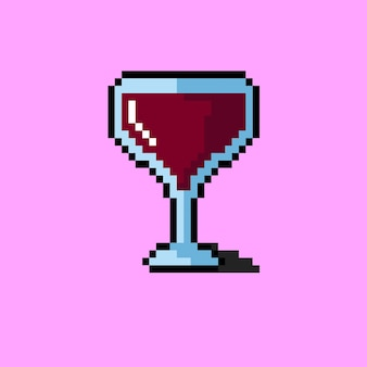 Bicchiere da vino di grandi dimensioni con stile pixel art