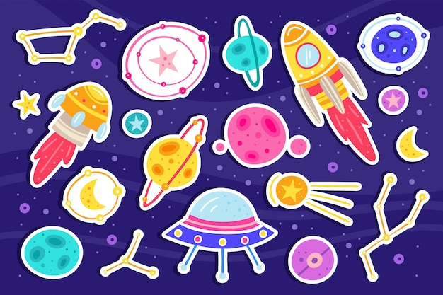 Illustrazione piana di grande spazio, insieme di elementi, icone. foglio adesivo.