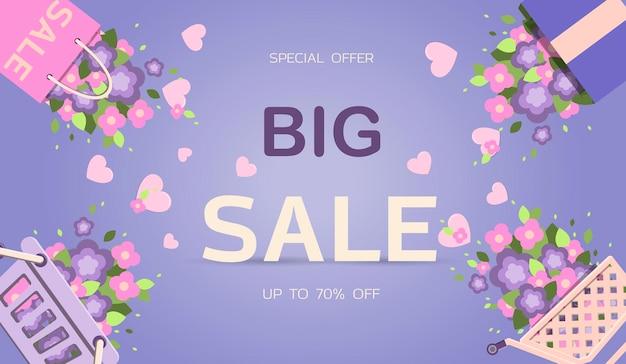 Grande striscione di vendita primaverile per sconti per l'8 marzo di pasqua o l'illustrazione vettoriale della festa della mamma