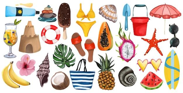 Grande ora legale impostata su uno sfondo bianco isolato borsa da spiaggia per scarpe da spiaggia con frutta tropicale