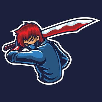 Big sword esport logo illustrazione