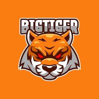 Modello di logo di big tiger e-sport