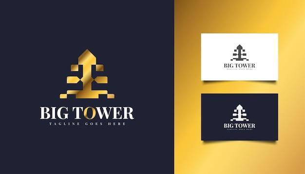 Logo della grande torre in oro sfumato. modello di progettazione del logo di costruzione, architettura o edificio