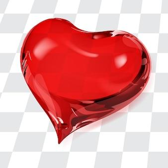 Grande cuore trasparente nei colori rossi