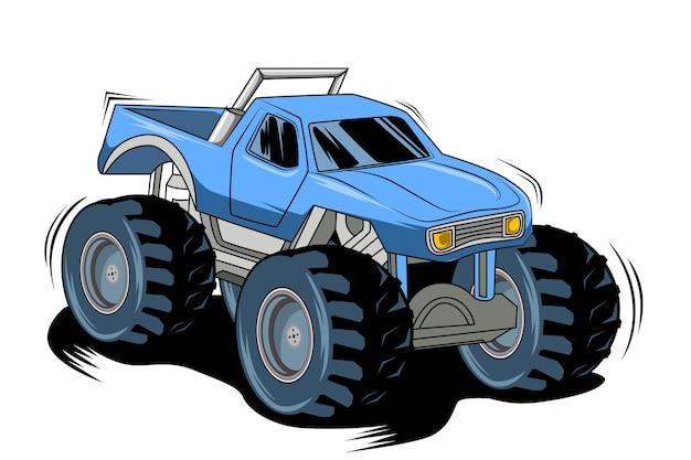 Disegno della mano dell'illustrazione dei mostri del grande camion
