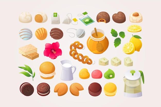 Grande varietà di contorni di dolci e complementi per fare un'ottima tazza di tè