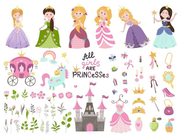 Grande insieme di vettore di belle principesse, castello, carrozza e accessori.