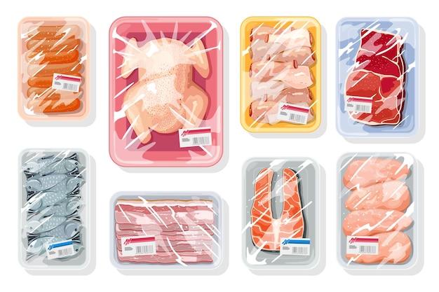 Grande set vettoriale con carne, pollame, frutti di mare su vassoi di plastica ricoperti di pellicola da cucina saran