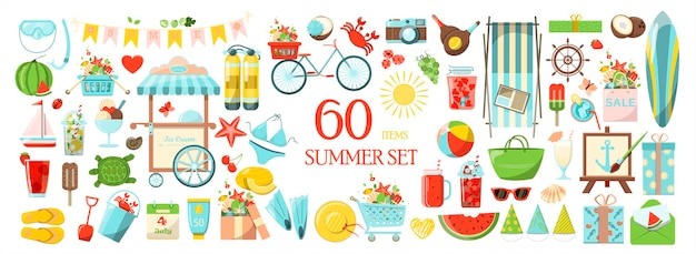 Un grande set estivo vettoriale di accessori per le vacanze al mare in riva al mare set di icone dei cartoni animati dal design piatto